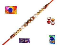 Beautiful Pearl & Golden Beads Rakhi (Product Code - SA119)