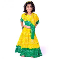 Great Art Sanganeri Bandhej Green Yellow Lehenga Choli Set 114B