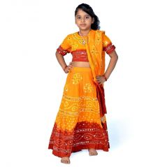 Great Art Bandhej Print Yellow N Maroon Lehenga Choli Set 117C