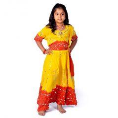 Great Art Rajasthani Beautiful Red Yellow Lehenga Choli Set 119B