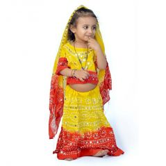 Great Art Rajasthani Red N Yellow Bandhej Lehenga Choli Set 119B
