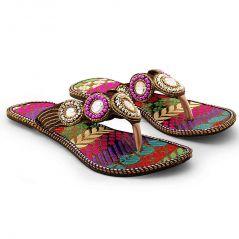 Women Traditional Multi Color Ethnic Flat Chappal 332