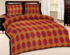 Great Art Multi-Color Printed Double Bedsheet With Pillow Covers 149