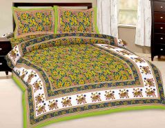 Great Art Multi-Color Printed Double Bedsheet With Pillow Covers 385
