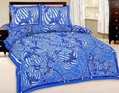Great Art Blue Geometric Print Double Bedsheet With Pillow Covers 468