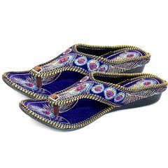 Great Art Rajasthani Girls Women Multi-Color Hand Embroidery Round Jaipuri Velvet Chappal 603