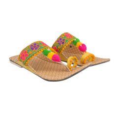 Great Art Women Girl's Party Office Ethnic Yellow Kolhapuri Chappal Sandals-DHDLI6WMO358