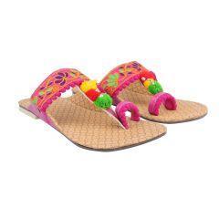 Great Art Women Girl's Party Office Ethnic Pink Kolhapuri Chappal Sandals-DHDLI6WMO359
