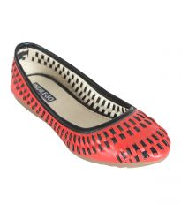 Indilego Red And Black Patent Leather Flat Women Bellies (Product Code - Indilegobbkrd108-118)