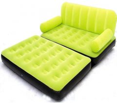 Airsofa 5 In 1 Air Bed Velvet Mattress Lounge Seat Couch Carbed With Electric Pump PP 3 Seater Inflatable Sofa (Color - Green)