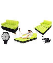 Eo Double Velvet Sofa Cum Bed Air Lounge Inflatable Green Colour With Free Eo Velosity Mens Watch