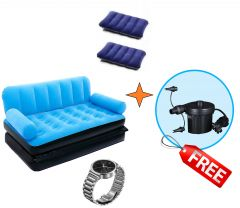 IMPORTED HEAVY DUTY VELVET AIR SOFA CUM BED WITH FREE GIFTS