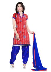 shree Vardhman Red Embroidered Chanderi Top Straight Unstiched Dress Material ELINA03