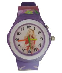 Barbie analog purple colour fancy kids girls watch