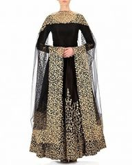 Style Amaze Presents Black Taffeta Embroidered Gown-Mayur-012