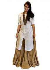 Women's Clothing - Style Amaze Latest Beige & White Color Party Wear  Salwar Suit(MSMSUNDAY_1077)