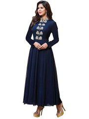 Western Dresses - Style Amaze Indian Bollywood Ethnic Designer Blue Semi- Sttiched Gown(SASUNDAY-1001)
