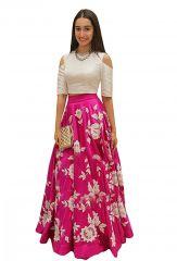 Women's Clothing - Style Amaze Pink & White Latest Indo-Western Lehanga(SASUNDAY-1025)