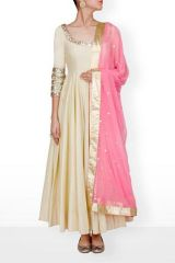 Anarkali Suits - Style Amaze Latest Cream Georgette Anarkali Salwar Suit-SASUNDAY-1043