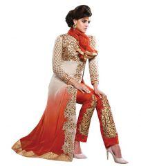 Women's Clothing - Style Amaze Georgette Light Orange Color Indian Designer Straight Salwar  Suit(SASUNDAY-1166)