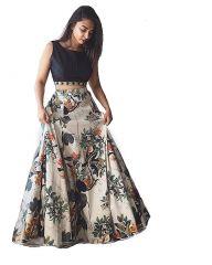 Style Amaze Indian Pakistani Designer Printed  Banglori Silk Indo Western Lehanga(SASUNDAY-1240)