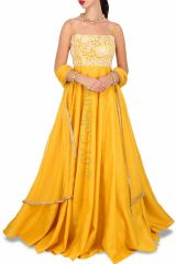 Style Amaze Good Looking Embroidered Yellow Color Banglori Silk Suit (Code - SASUNDAY-2001)