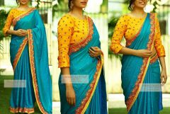 Style Amaze Blue Color Paper Silk Plain Saree With Embroidered Blouse (Code - SASUNDAY-2159)