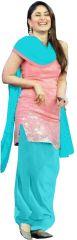 Churidars, Salwars, Patialas - Style Amaze Presents Sky Blue & Pink Cotton Patiala Suit(SF158)