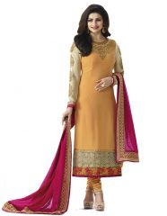 Style Amaze Orange Georgette Semi-Stitched Salwar Suit (Code -VFQN-5644)