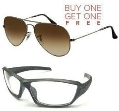 Buy 1 Brown Aviator Style Sunglasses & Get 1 Biker Sunglasses Free