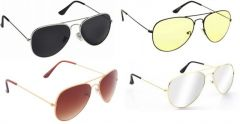 Sunglass Combo - Black S Yellow 2 Shade ,brown 2 Shade ,silver Mercury