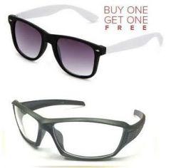 Buy 1 White Wayfarer & Get 1 Transparent Sport Biker Sunglass Free