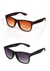 Candid Black And Brown Matt Finish Sunglass Combo