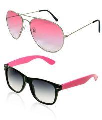 online shopping sunglasses n2k8  Buy 1 Trendy Pink Aviator & Get 1 Pink Wayfarer Style Sunglass Free