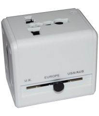 Universal Travel Adaptor Surge Protector White with USB Slot