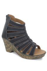Naisha Women's Synthetic Leather Black Heeled Sandals (Code - SC-PT-64-Black)