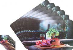 Glassiano Abstract Printed Table Mats - (Set Of 6pcs + 6Pcs Coaster) (Code - GITM_GoldF20)