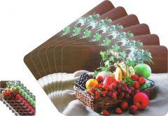 Glassiano Abstract Printed Table Mats - (Set Of 6pcs + 6Pcs Coaster) (Code - GITM_GoldF22)