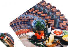 Glassiano Abstract Printed Table Mats - (Set Of 6pcs + 6Pcs Coaster) (Code - GITM_GoldF25)