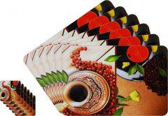 Glassiano Abstract Printed Table Mats - (Set Of 6pcs + 6Pcs Coaster) (Code - GITM_GoldF28)