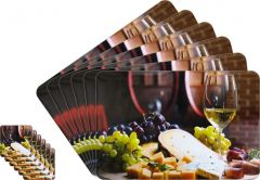Glassiano Abstract Printed Table Mats - (Set Of 6pcs + 6Pcs Coaster) (Code - GITM_GoldF30)