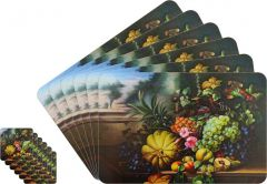 Glassiano Abstract Printed Table Mats - (Set Of 6pcs + 6Pcs Coaster) (Code - GITM_GoldF40)