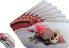 Glassiano Abstract Printed Table Mats - (Set Of 6pcs + 6Pcs Coaster) (Code - GITM_GoldF43)