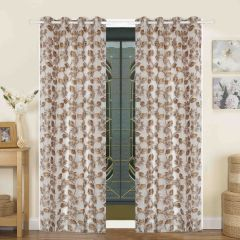 Door Curtain Jacquard Floral Design Brown Bh62X1D