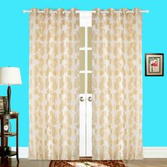 Door Curtain Jacquard Floral Design Yellow Bh62X7D