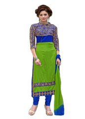 Grapsy Fashion Embroidery Green Cotton Salwar Suit AIW Green