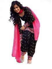 Women's Black Georgette Raw Silk Anarkali Dress Salwar Suit Ufs1009
