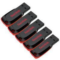 Pack Of 5 Sandisk Cruzer Blade 16 GB Pen Drive (black & Red)