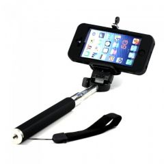 Monopod Extendable Selfie Stick With Mobile Holder - Black