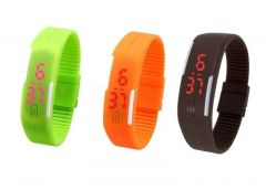 Pack Of 3color Green Orange Brown LED Digital Watches For Men And Women